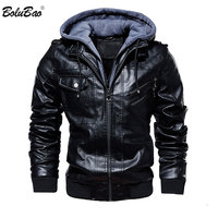 BOLUBAO Fashion Brand Men PU Leather Jackets Winter New Men's Comfortable Leather Jacket Male Casual Hooded Leather Jacket Coat