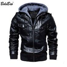 Bolubao marca de moda dos homens jaquetas de couro do plutônio inverno novo confortável jaqueta de couro masculino casual com capuz casaco de couro