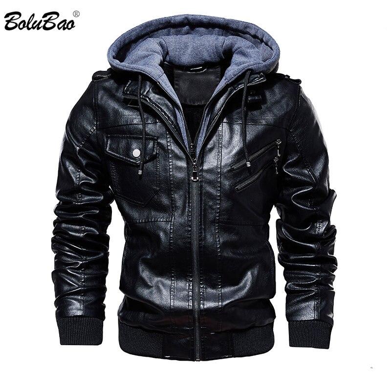 Chaquetas de cuero PU para hombre de marca de moda BOLUBAO de invierno nueva chaqueta de cuero cómoda para hombre chaqueta de cuero con capucha Casual para hombre