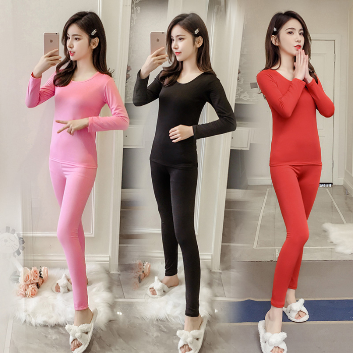 2019 Autumn Solid Elasticity Thin Thermal Underwear Women Slim Shaping Long Johns Winter Thermal Set Boss Warm Clothes For Women