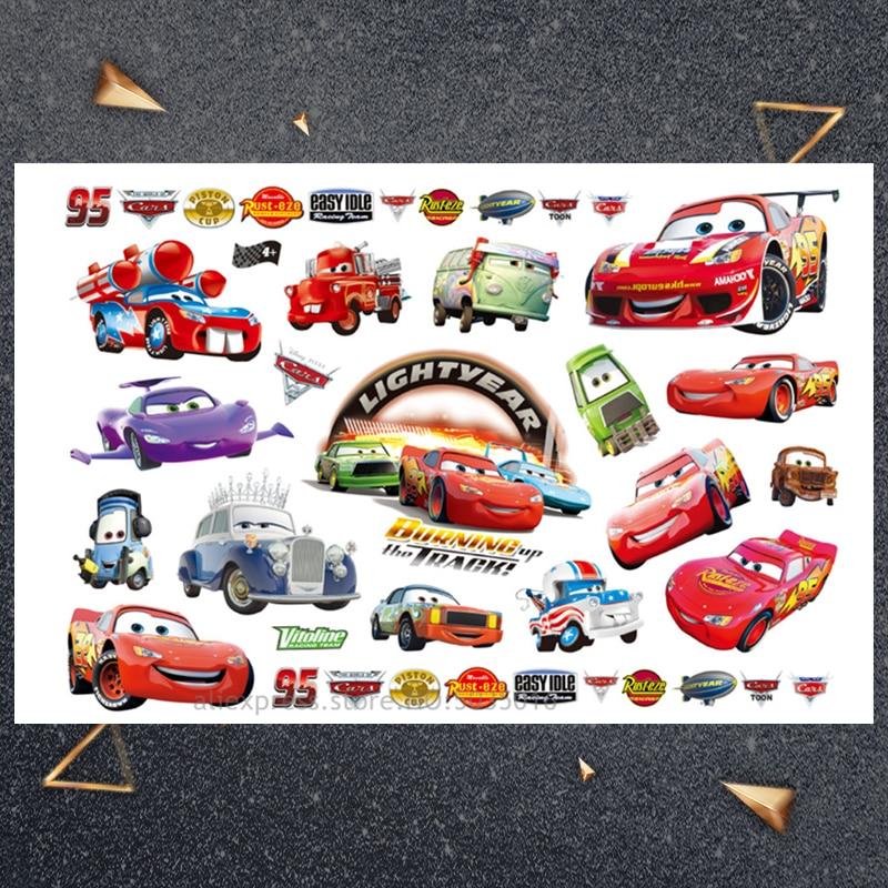 Hasbro Red car child sticker Children Cartoon Temporary Tattoo Sticker For Boys Cartoon Toys Waterproof Party Kids Gift