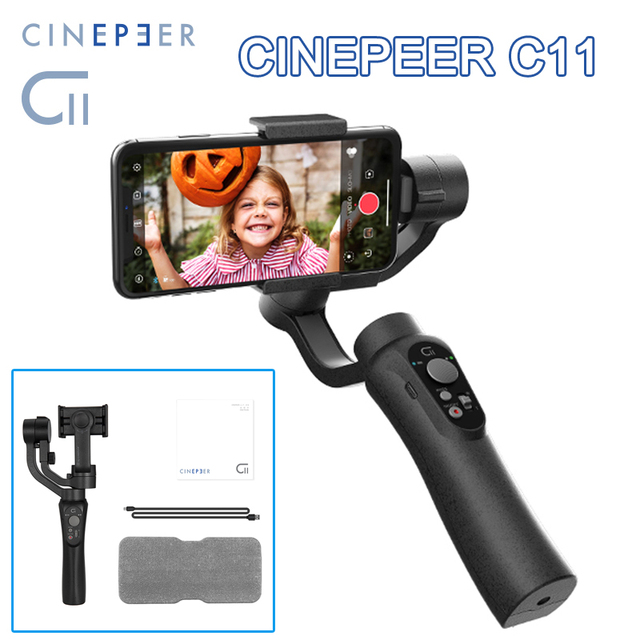CINEPEER C11 Handheld Stabilizer 3 Axis Object Tracking Smartphone Gimbal for Video Vlog Powered by ZHIYUN VS isteady