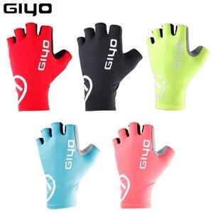 Image 1 - Giyo brise vent cyclisme demi doigt gants anti dérapant vélo moufles course route vélo gant vtt Biciclet Guantes Ciclismo