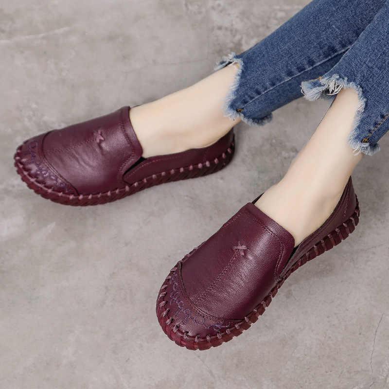 Đế Mềm Đế Phẳng Da Thật Chính Hãng Da Mẹ Giày Thoải Mái Giày Oxford Nữ Giày Nữ Giày Đi Dạo Mộc Mạch Trà Plus Size 42