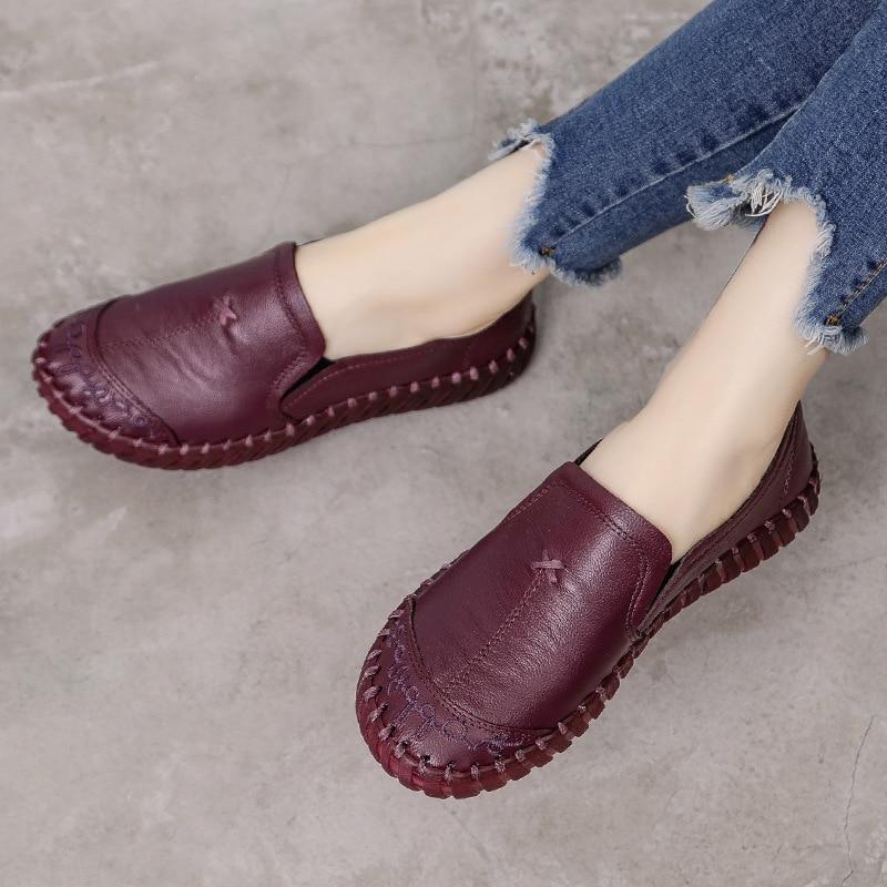 Mocassins de couro genuíno sapatos de mãe conforto oxford sapatos para mulher mocassins plus size 42