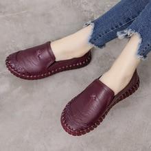 Fondo suave zapatos planos de mujer de cuero genuino zapatos de madre cómodos Oxford zapatos para mujer mocasines de talla grande 42