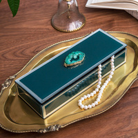 Modern Green Glass Decor Box With Green Agate Agate Piece Jewelry Box Jewelry Storage Box Home Decoration Crafts Ornaments Gifts