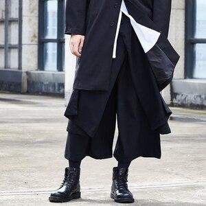 Image 3 - Men Japan Streetwear Hip Hop Punk Gothic Black Harem Pant Male Fashion Splice Loose  Wide Leg Skirt Trouser Kimono