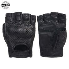 Перфорированные кожаные мотоциклетные перчатки в стиле ретро