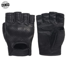 IRON JIA'S Retro Perforated Leather Motorcycle Gloves Summer Protective Half Finger Breathable Racing gloves Motorbike Guantes