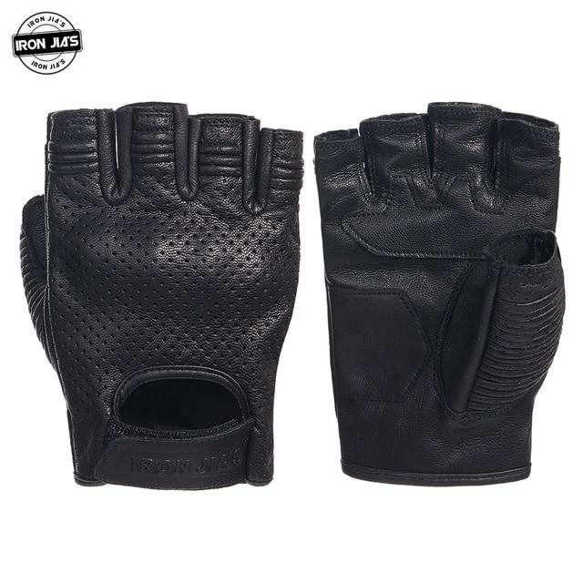 الحديد JIAS الرجعية مثقب قفازات جلدية للدراجات النارية الصيف واقية نصف الاصبع تنفس قفازات السباق دراجة نارية Guantes