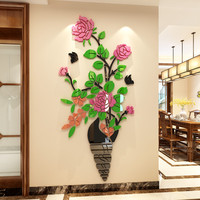 Creative DIY Rose flower acrylic wall sticker office decoration living room bedroom 3D three dimensiona Background wall sticker