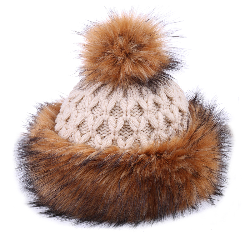 Multi-Tone Cossack Style Fur Trapper Hat Brown and Beige