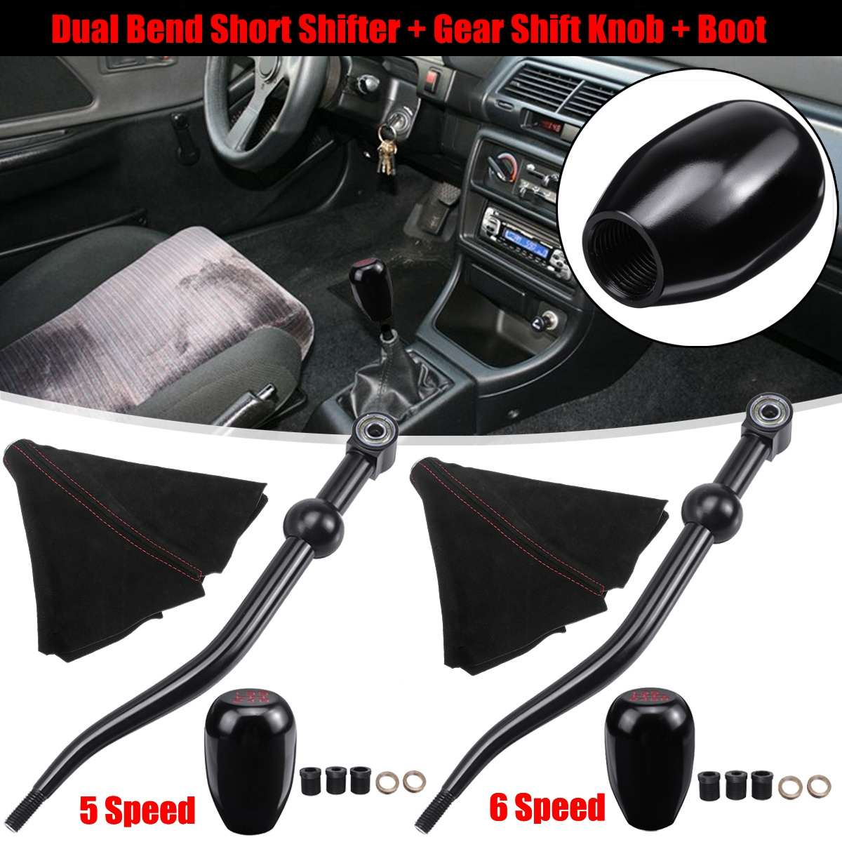 Blue Dual Bend Short Shifter Shift Knob For Civic EF EG EK CRX Del Sol DA DC2