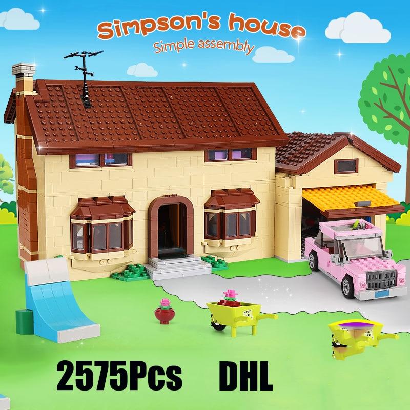 2575 Uds. Juguetes de película 16005 Simpsons bloques de construcción de Casa bloques compatibles lepining 71006 modelos de juguetes para niños regalo de cumpleaños