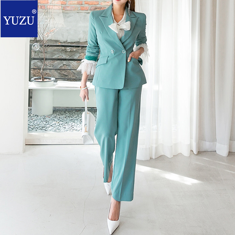 Work Pant Suits OL 2 Piece Sets Double Breasted Mint Green Blazer Jacket Oversized Trousers Suit For Women Set Feminino