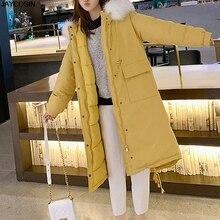 Cotton hooded jacket long ladies winter Parkas fashion coat female fur thick