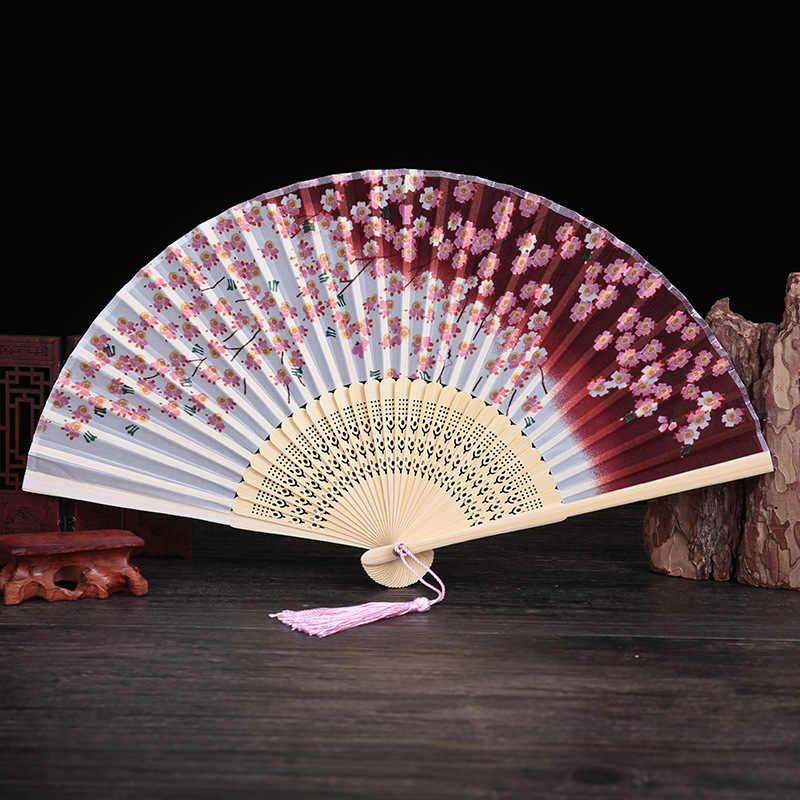 Verano imitación de tela de seda abanico clásico estilo chino plegable abanico de baile estilo antiguo pequeño ventilador japonés estilo cereza Blos