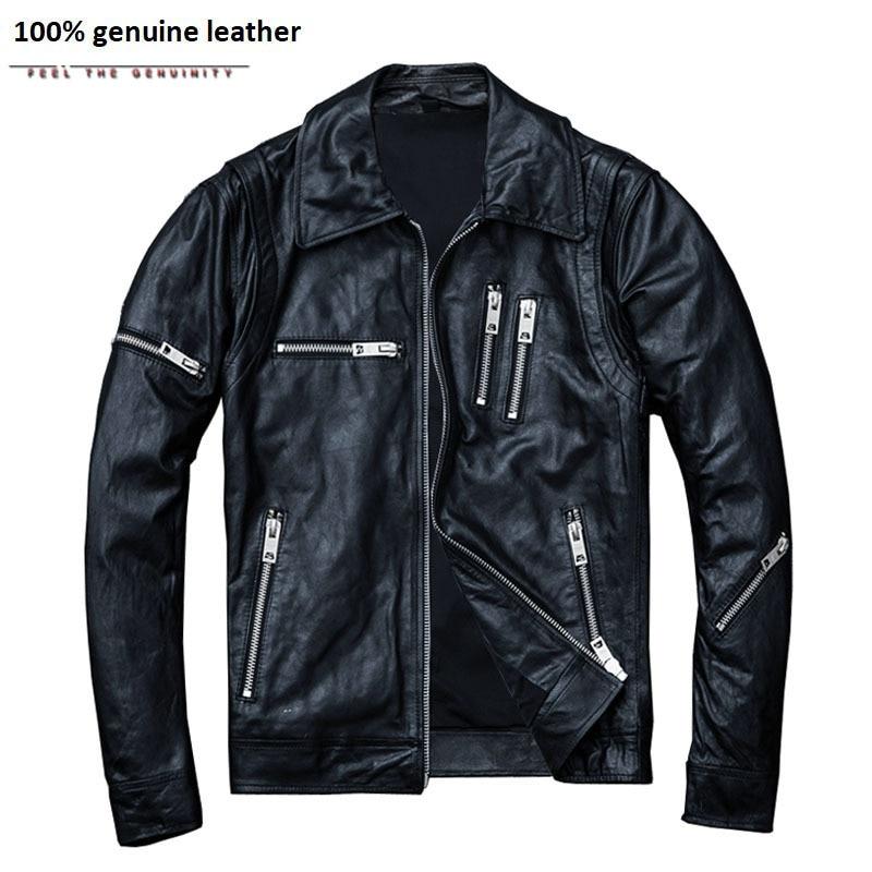 100% Natural Sheepskin Tanned Leather Jacket Men Skin Jacket Moto Biker Coat Soft Black Mens Leather Coat Autumn M005