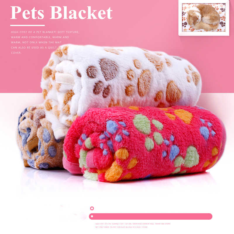 Cute Pet Sleep Warm Blanket Paw Print towl Dog Cat Puppy Fleece Soft Dog Blanket for Pet Dog Cat Hamster Hedgehog Pig