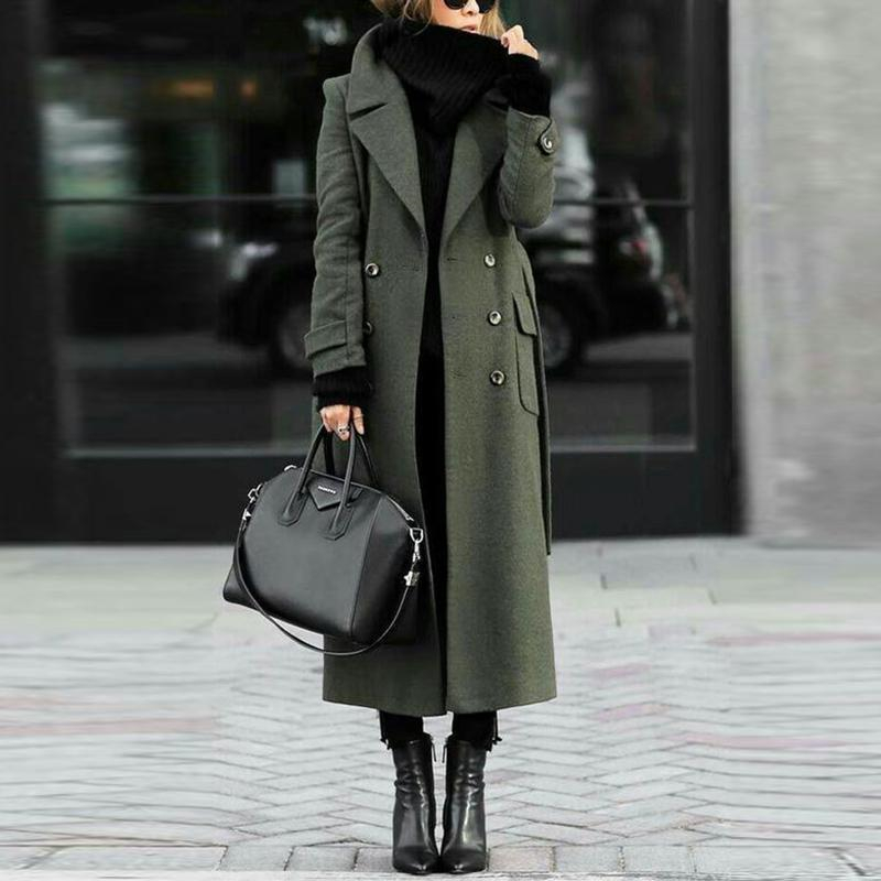Women Classic Turn-Down Collar Elegant   Trench   Long Coat British Style Warm Female Autumn Winter vintage coats and Outwear 2019