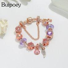 Женские браслеты с кристаллами buipoey модные из розового золота