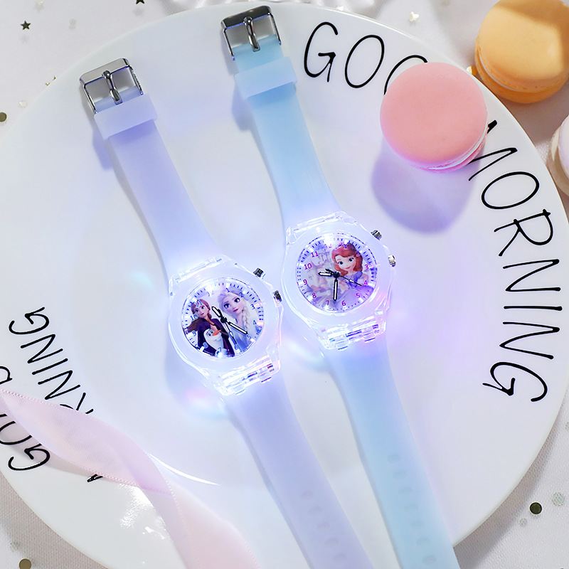 Disney congelado relógio princesa aisha relógio luminoso das crianças estudante silicone colorido luzes relógio presentes para meninas crianças relógio
