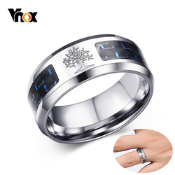 Vnox Carbon Fiber Life Tree Rings  8mm Stainless Steel Male Casual Wedding Bands Jewelry USA Warehouse