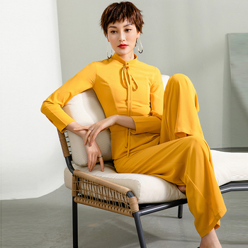 2020 Formal Party Jumpsuit for Women High Waist Chiffon Elegant Yellow Color Wide Leg Lace Up Suit Plus Size 3XL 4XL damaizhang yellow 4xl
