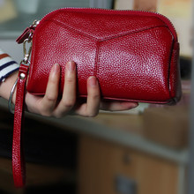 Chuwanglin Echt Lederen Clutch Vrouwen Retro Dames Lange Card Clutch Vrouwen Portemonnee Pocket Purse Geldzak Dame G52904(China)