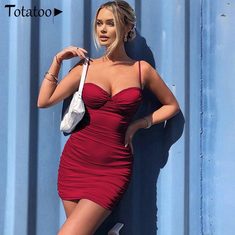 Totatoop Lace Up V Neck Ruched Bodycon Mini Dress Women 2020 Summer Hollow Out Ruffles Sundress Beachwear Vestidos 5