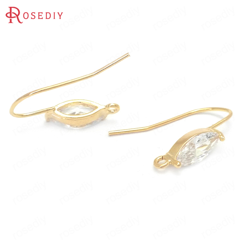 37665 6PCS 24K Gold Color Brass and Zircon Round Stud Earrings Pins Accessories