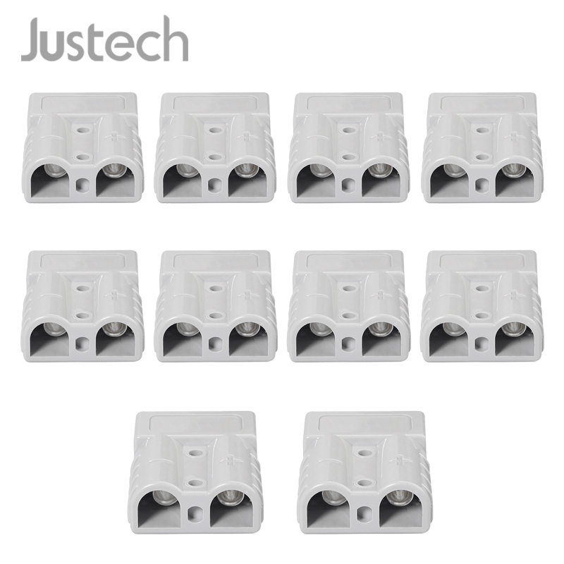 Justech 10Pcs For Anderson Style Plug Connectors 50A 600V 6AWG Silver Plated Solid Copper Terminals AC/DC Power Tool