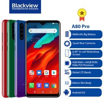 Перейти на Алиэкспресс и купить Восьмиядерный смартфон Blackview A80 Pro с глобальной версией, 4 ядра, 4 Гб + 64 ГБ, Android 9,0, мобильный телефон 6,49 дюйма, дроп 4680 мАч, 4G