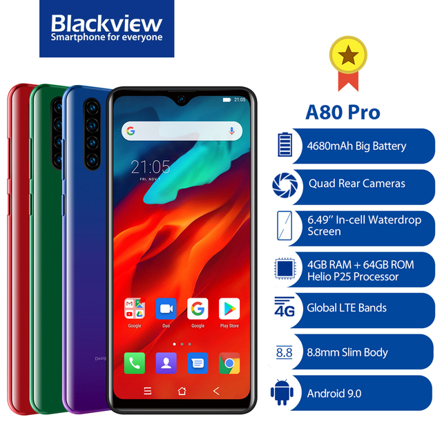 Blackview هاتف بلاك فيو A80 برو الذكي الإصدار العالمي, كاميرا رباعية ، معالج ثماني النواة رام 4 جيجابايت + روم 64 جيجابايت ، نظام أندرويد 10.0 ، شاشة Waterdrop مقاس 6.49 بوصة ، بطارية 4680 ملي أمبير ، الجيل الرابع