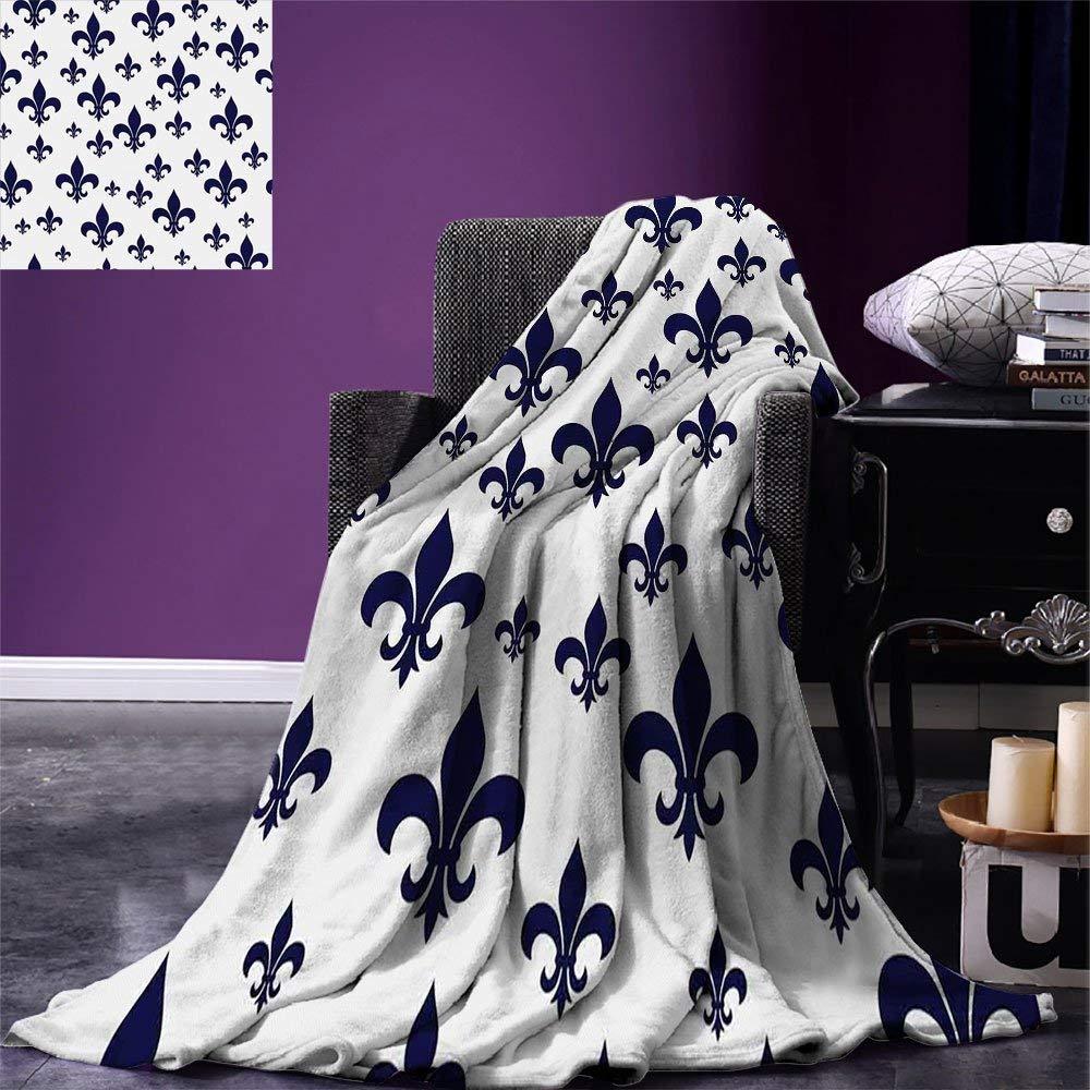 Navy Blue Decor Throw Various Sized Classic Fleur de Lis Patterns Royal Retro Style Antique Decor Flannel Blanket