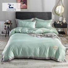 Liv-Esthete Luxury Green 100% Mulberry Silk Healthy Bedding Set Duvet Cover Silky Bed Pillowcase Queen King Flat Sheet