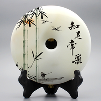 20*20cm natural jade round china Guardian Decoration Protecting homes talisman amulet Evil spirit retreat +free Wood base