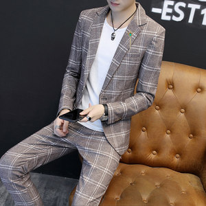 Image 3 - Heren Blazers Formele Plaid Vintage Suits Met Broek 2 Delige Set Britse Mannelijke Smoking Slim Fit Business Casual Bruiloft bruidegom