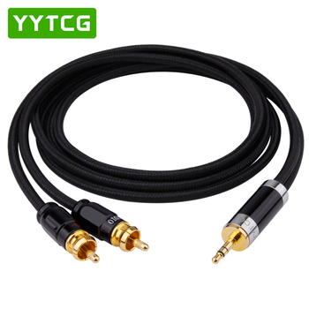 YYTCG Hifi 3 5mm do 2RCA kabel Hi-end miedziany i posrebrzany 3 5 Aux do podwójnego kabla Audio RCA tanie i dobre opinie Mężczyzna Mężczyzna G2S-3 5-2RCA Przedłużacz audio Gniazdo Pakiet 1 PLASTIKOWA TOREBKA PLECIONY Brak Głośnik Do iPoda