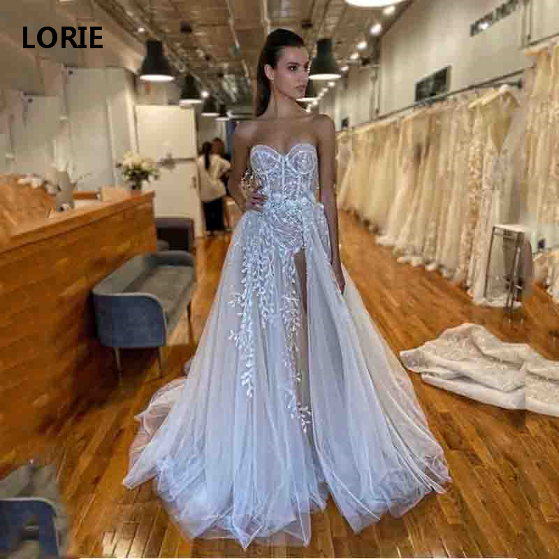 LORIE Boho Lace Wedding Dresses Side Split Sweetheart Neck Appliques Bride Dresses Vestidos De Novia Custom Made