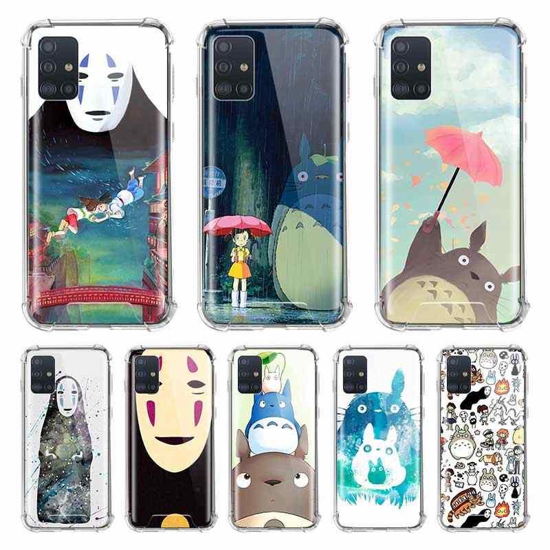 Airbag Anti Fall Capa For Samsung Galaxy A51 A71 M51 M31 M21 A41 A31 A21s A11 Phone Cover Totoro Spirited Away Ghibli Miyazaki
