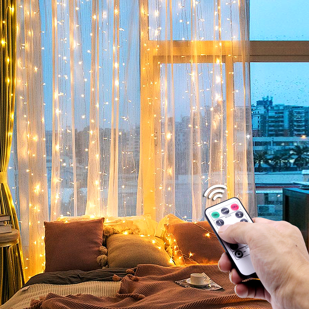 3x3 Meters Christmas LED string lights curtain garland On the window Remote Control fairy light home decoration Holiday lighting