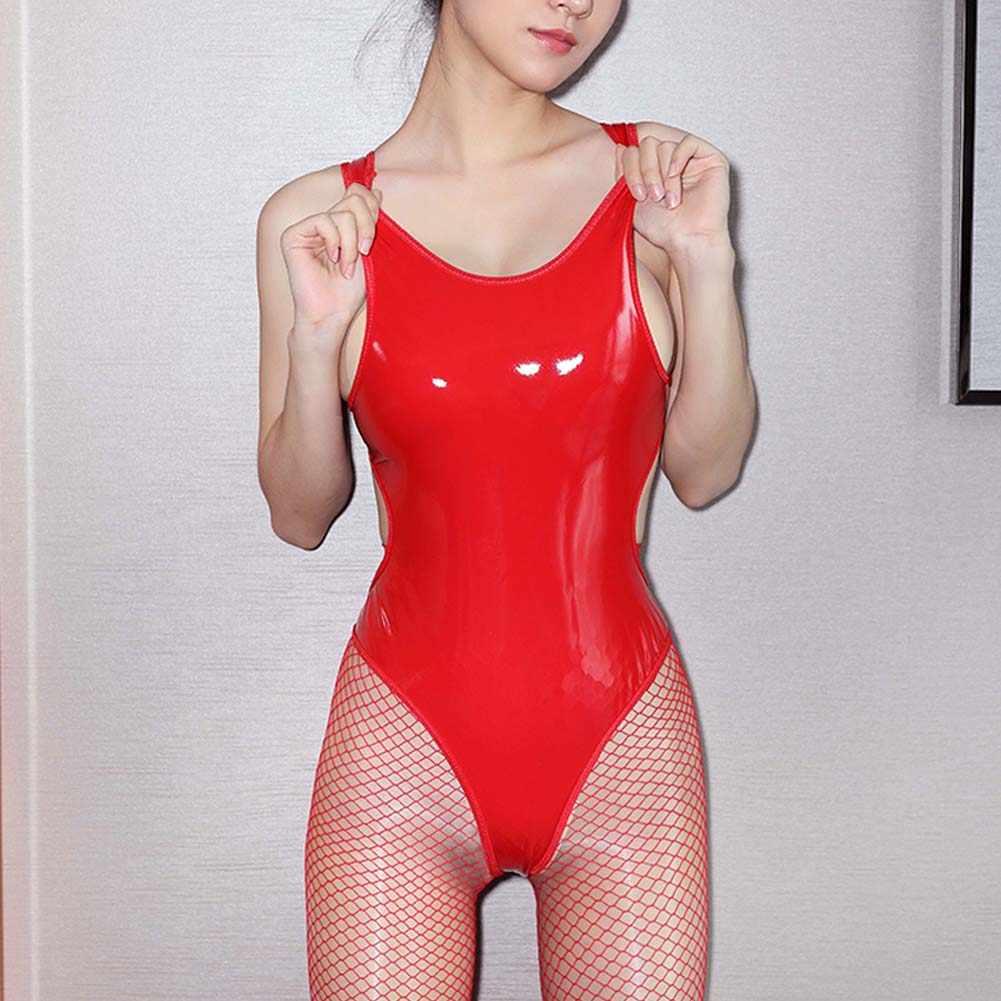 Hirigin สตรีเซ็กซี่ Backless PU หนัง Latex BANDAGE Bodysuit ชุดชั้นใน Catsuit กามเร้าอารมณ์เครื่องแต่งกาย