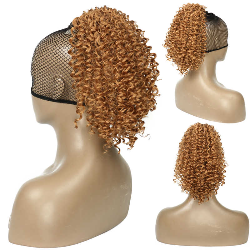 Eunice Synthetic Kinky Curly Drawstring Ponytail Extensions Afro Puff Chignon Pony Tail Hair Pieces With Clips In Wigs