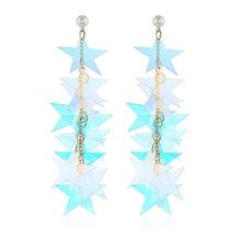 Fashion wild sequins long Dangle earrings temperament cute color Drop earrings jewelry girl gift alloy sequins drop earrings