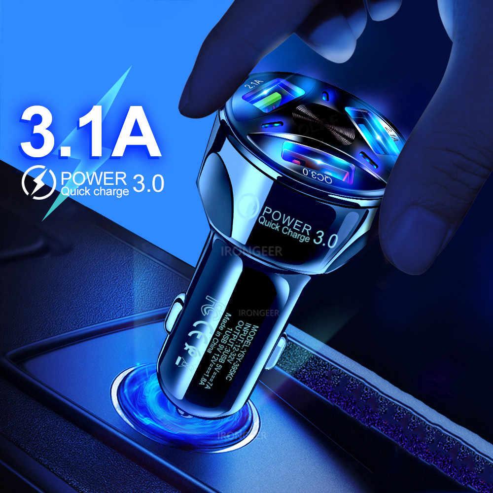 Cargador USB para coche de carga rápida 3,0 4,0 Universal 18W carga rápida en coche 3 puertos cargador de teléfono móvil para samsung s10 iphone 11 7