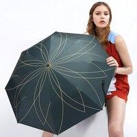 Luxury Korean Umbrella Rain Women Sunny Umbrella Rain Parasol Women Floding Flowers Mini Umbrella Men Windproof Umbrellas W