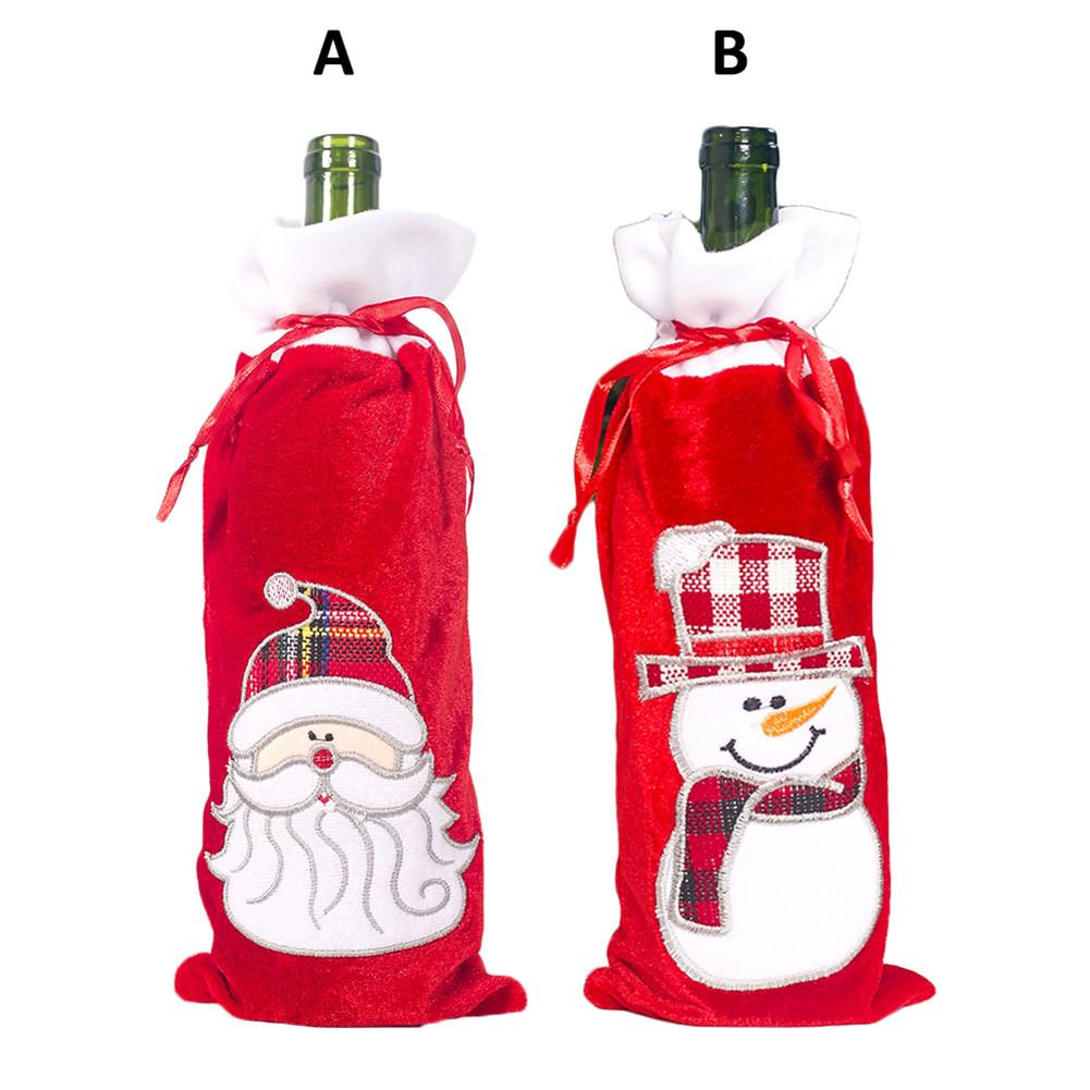 2020 Christmas Wine Bottle Cover Santa Claus Snowman Wine Bottle Cover New Year Gifts For Party Dinning-table Bottle Decoration