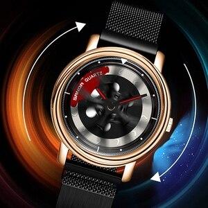 Image 2 - SANDA 2020 Hot Sell Men Watch Racing & Furious Rotating Dial Wheel Watches Magnet Clasp Quartz Wristwatch Gift Relogio Masculino